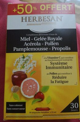 Herbesan Propolis Gelée Royale - Nutrition facts - fr
