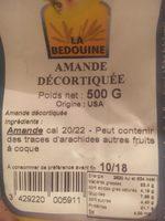 Amande decortiquée - Ingredients