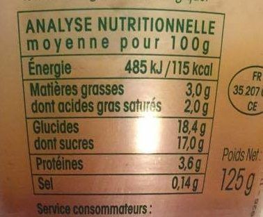 Flan Nappé Caramel Bio - Nutrition facts