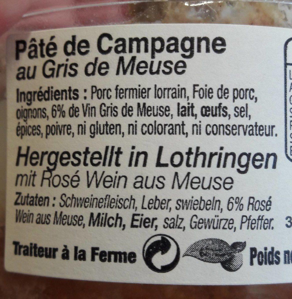 Pate de campagne au gris de Meuse - Ingrediënten