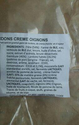 FOUGASSE LARDONS CREME OIGNONS - Ingredients - fr