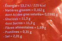 Pomme Ariane, calibre 136/200, catégorie 1, France, sachet - Informations nutritionnelles - fr