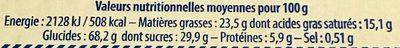 Les Saléfins - Informations nutritionnelles - fr
