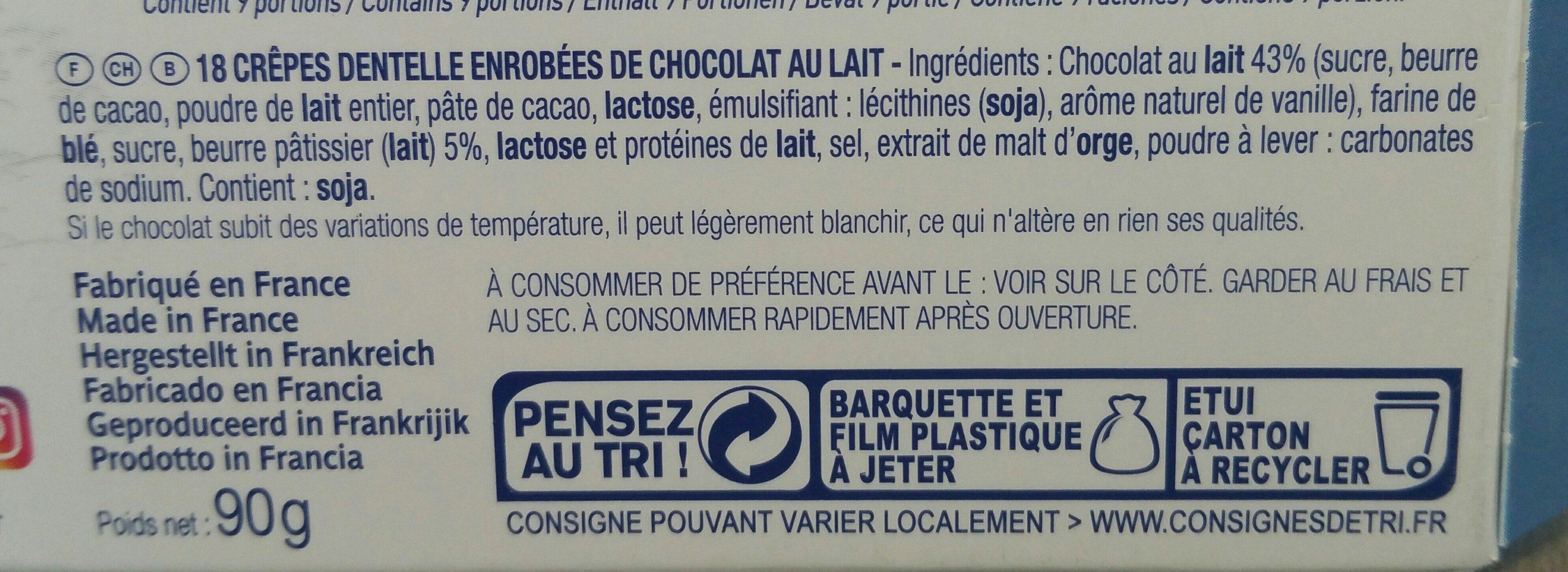 CRÊPES DENTELLE CHOCOLAT AU LAIT 90g - Ingredients - fr