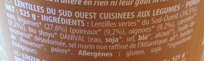 Lentilles aux petits légumes - Ingredients