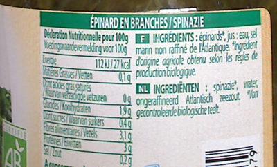 Épinard en branches - Informations nutritionnelles - fr