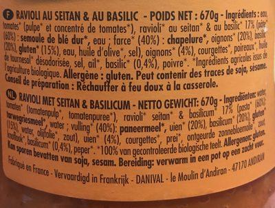 670G Ravioli Au Seitan Sauce Tomate - Ingrediënten