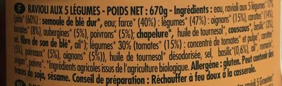 Ravioli 5 légumes - Ingrédients - fr
