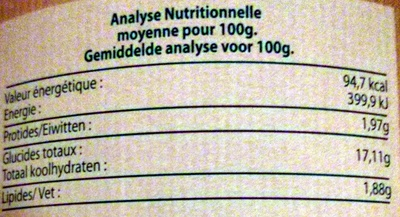 Ravioli 5 légumes - Informations nutritionnelles - fr