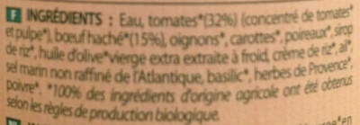 Sauce Bolognaise Bœuf du Sud-Ouest - Ingrédients