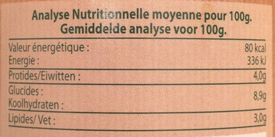 Sauce Bolognaise Bœuf du Sud-Ouest - Informations nutritionnelles