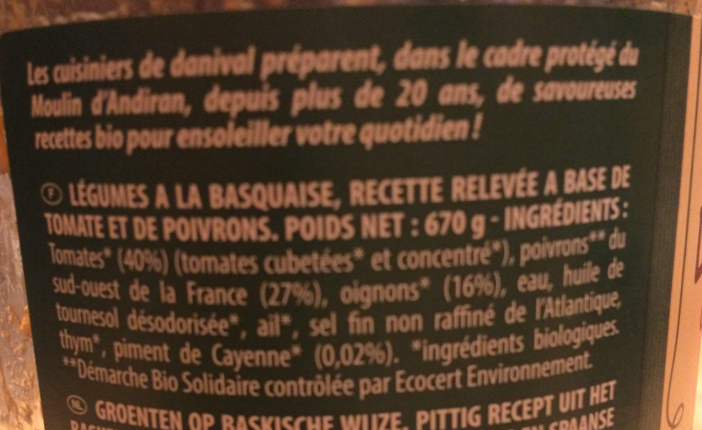 Legumes à la Basquaise - Ingrediënten