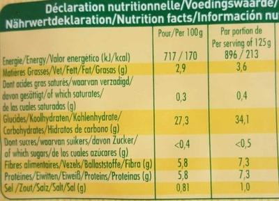 Les graines express 4 céréales - Nutrition facts