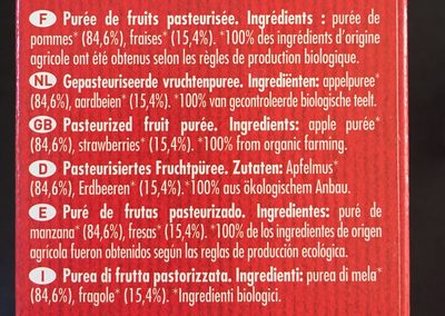 Etui 4 Pokibio Pomme Fraise - Ingrediënten - fr