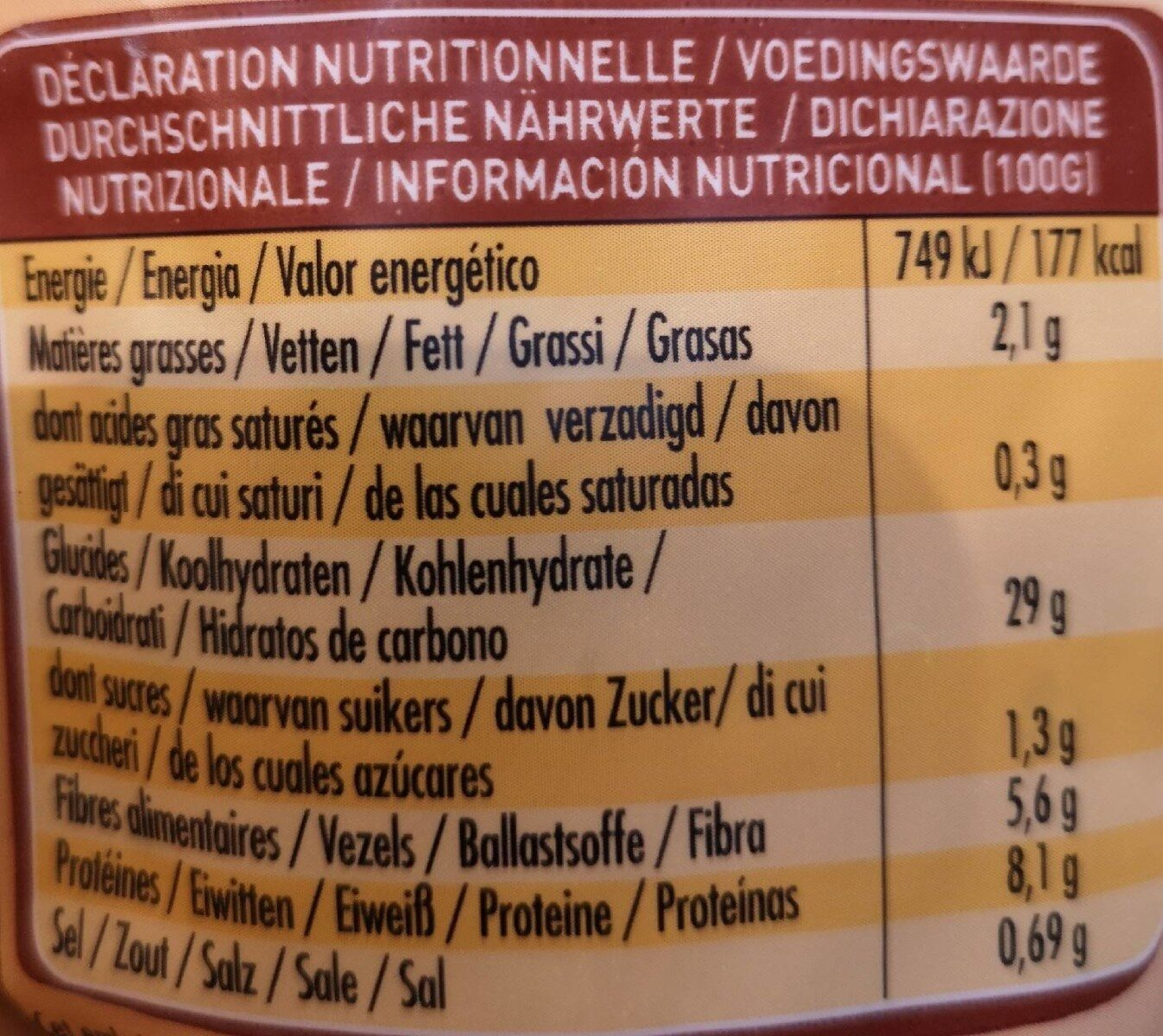 250G Graines Express Lentilles - Voedingswaarden - fr