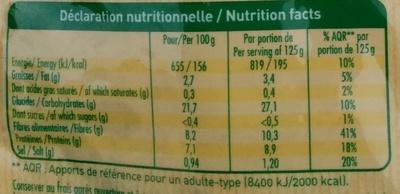 Les graines Express 2 céréales & légumineuses - Nutrition facts