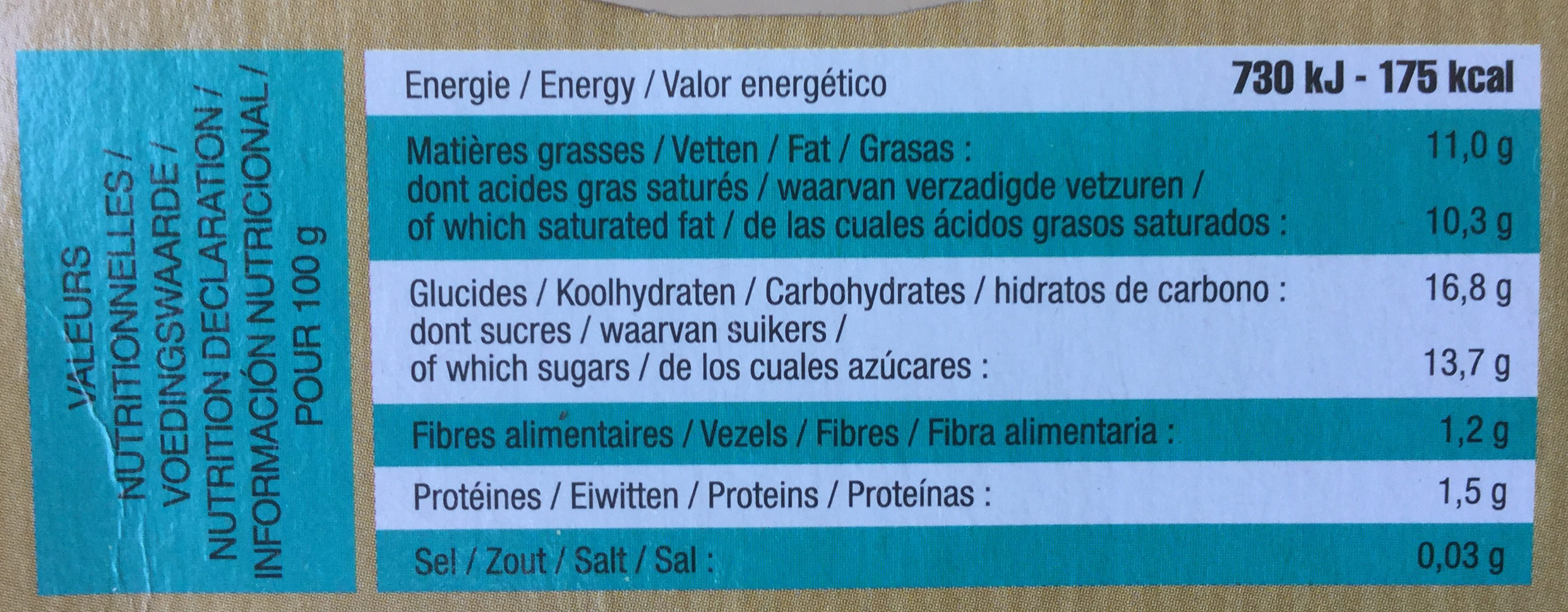 Coco & Cacao - Nutrition facts - fr