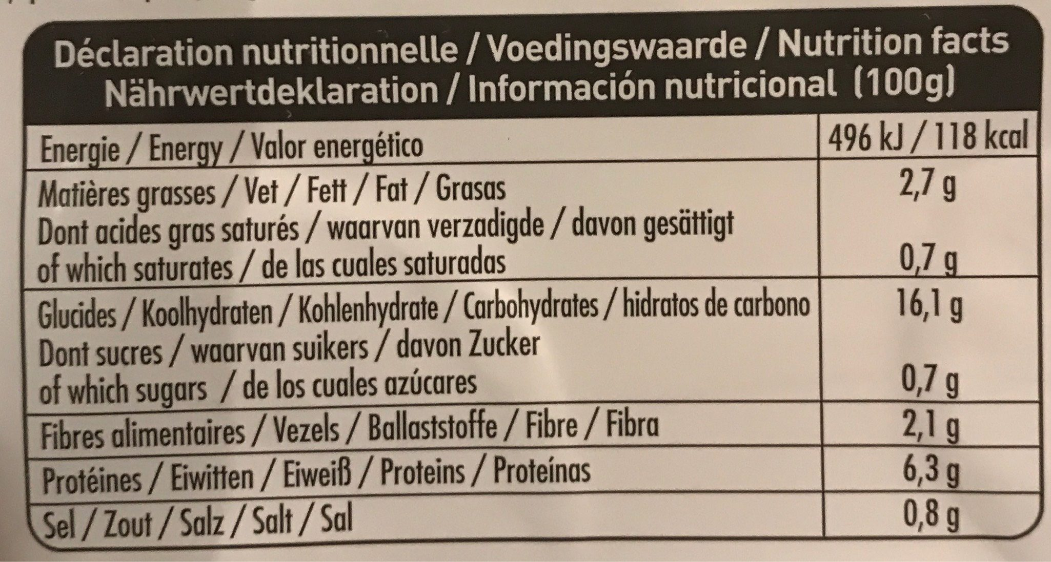 Assiette Tofu a L'indienne - Informations nutritionnelles - fr