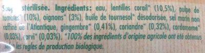 Soupe aux lentilles corail et epices - Ingrédients - fr