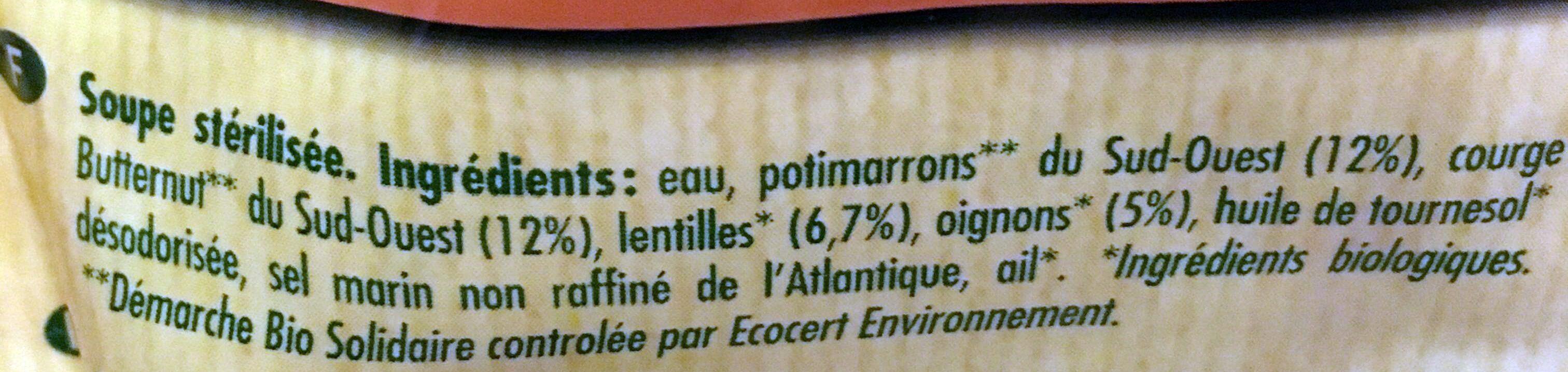 Soupe potimarron & courge butternut - Ingrediënten - fr