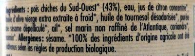 Houmous Bio - 100 g - Danival - Ingrédients