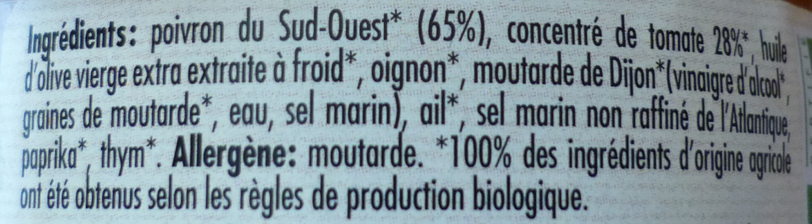 Confit de poivrons - Inhaltsstoffe - fr
