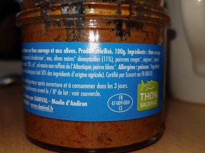 Thoïonade Bio - Ingrédients - fr