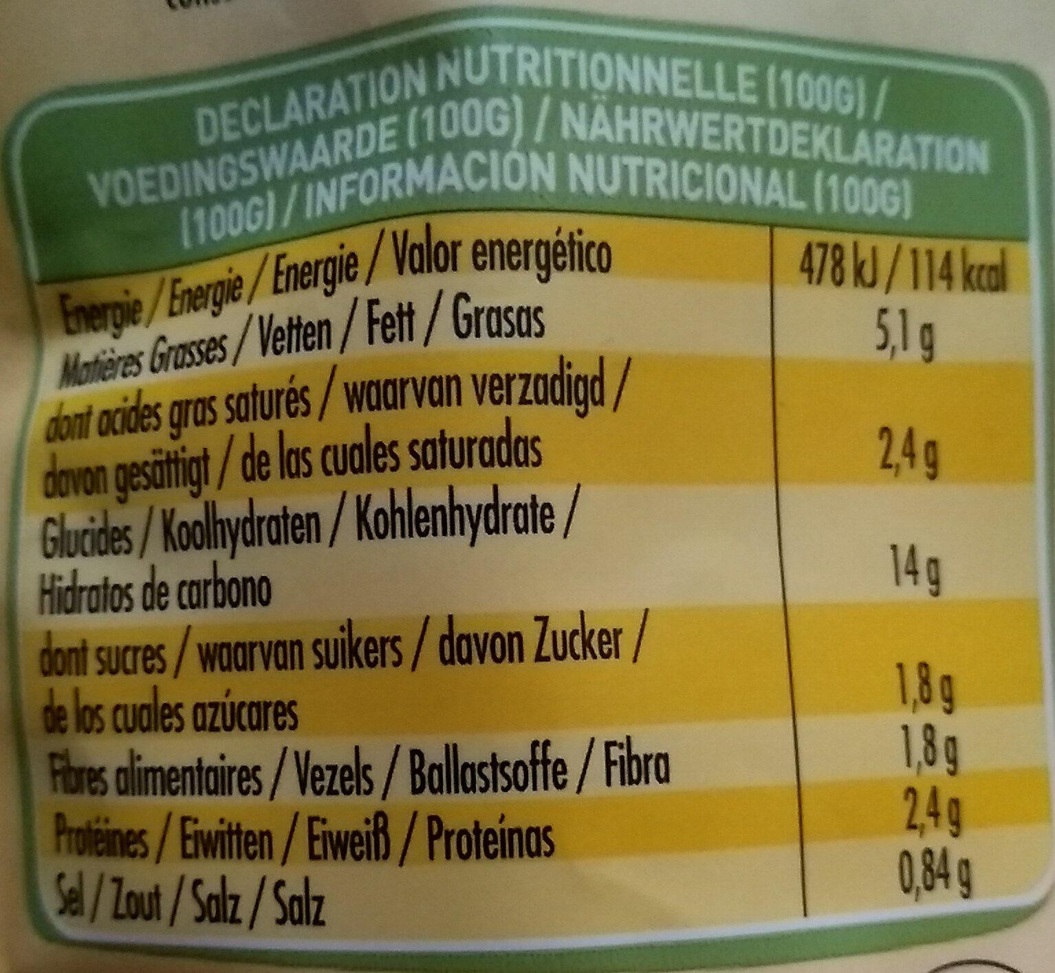 Risotto Champignons & Parmesan - Nutrition facts - fr