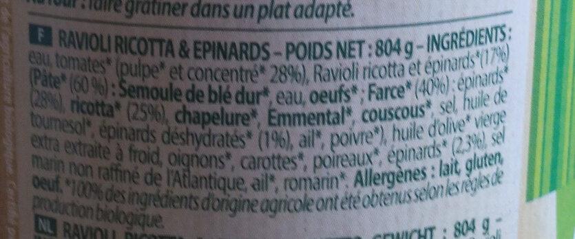 Ravioli Ricotta & Epinards - Ingrediënten - fr