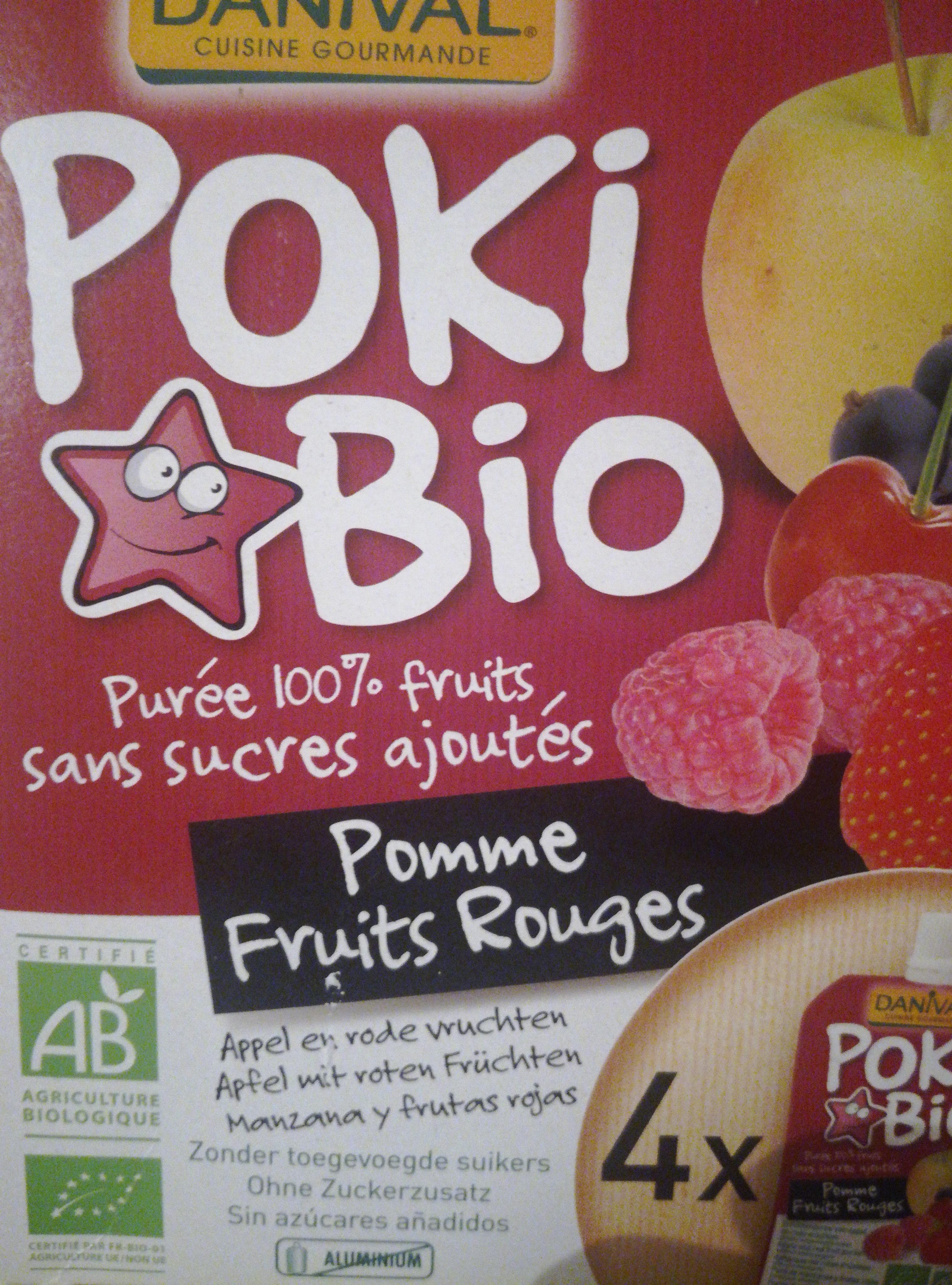 Danival Poki Bio - Purée Pomme & Fruits Rouges 100% Fruit Bio Sans Sucres Ajoutés - Product