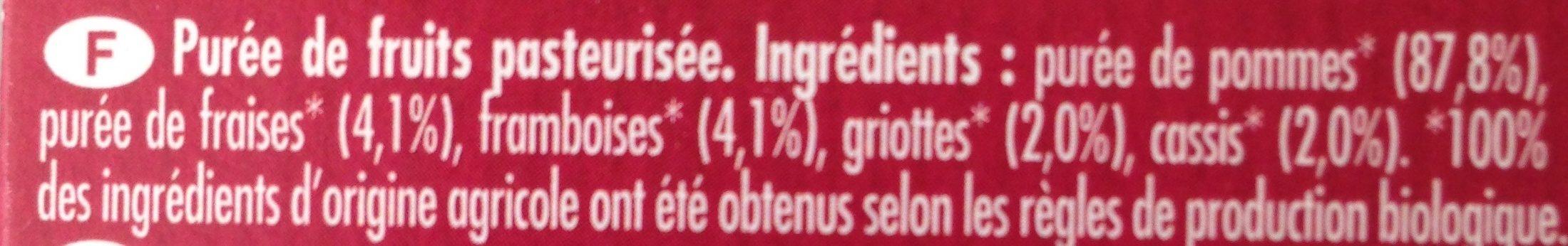 Danival Poki Bio - Purée Pomme & Fruits Rouges 100% Fruit Bio Sans Sucres Ajoutés - Ingrediënten