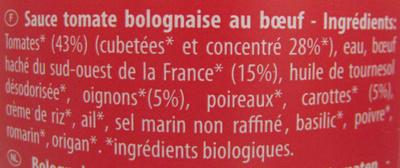Sauce Bolognaise au Bœuf - Ingrédients - fr