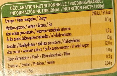 Fruits 100% Fruits Pomme - Informations nutritionnelles