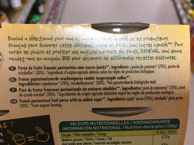 Compote Pomme Mirabelle Ss Sucre Ajouté - Ingredients - fr