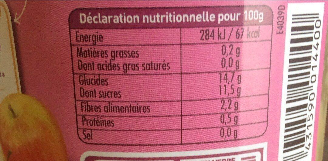 Dani Pom pomme -banane - Informations nutritionnelles - fr