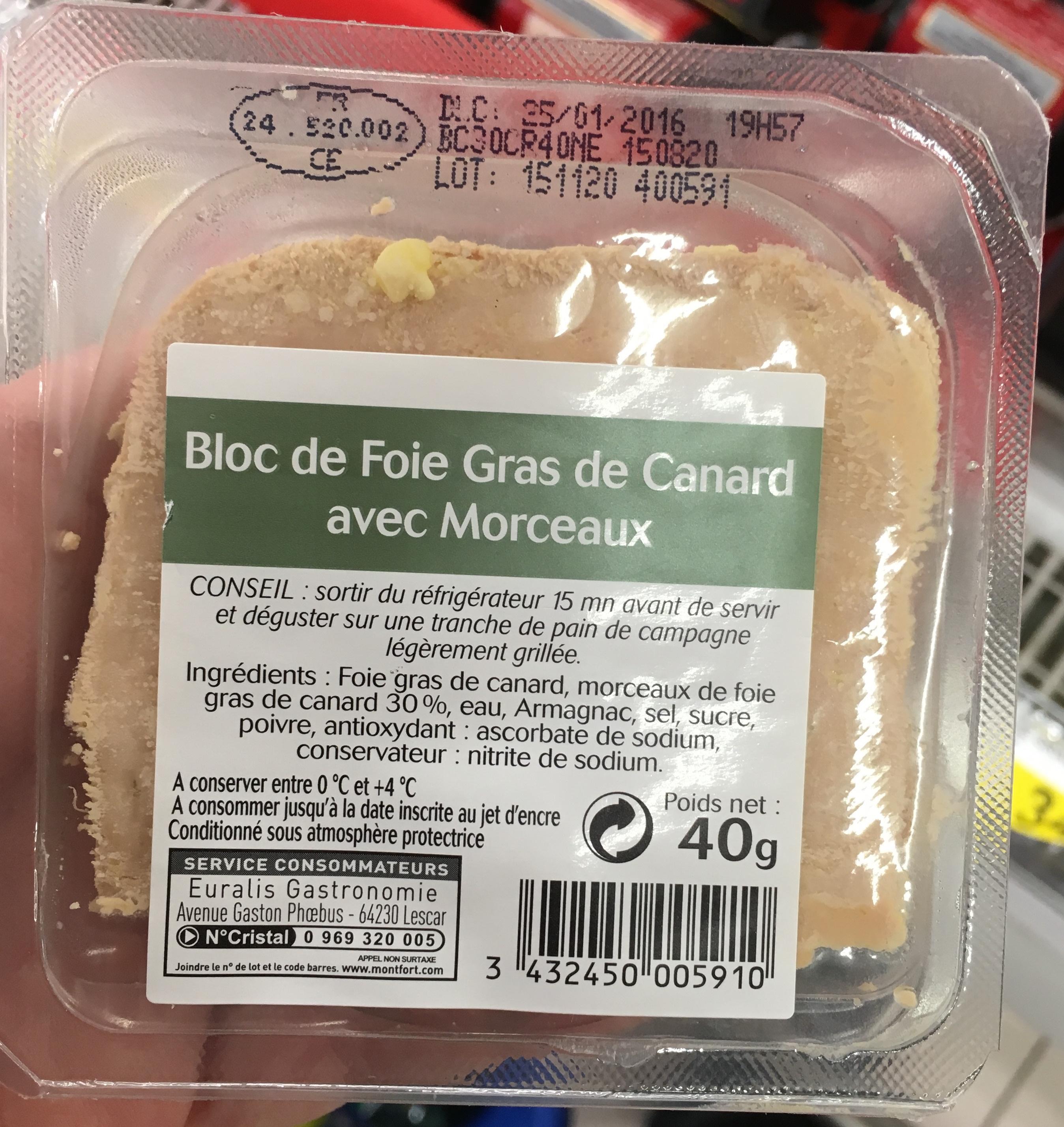 bloc de foie gras de canard avec morceaux sans marque
