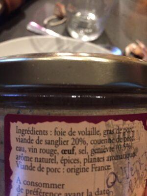 Terrine de sanglier - Ingredients - fr