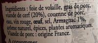 terrine de cerf à l'armagnac - Ingredients - fr