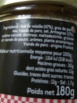 Confit De Foie De Volaille A L'armagnac - Nutrition facts