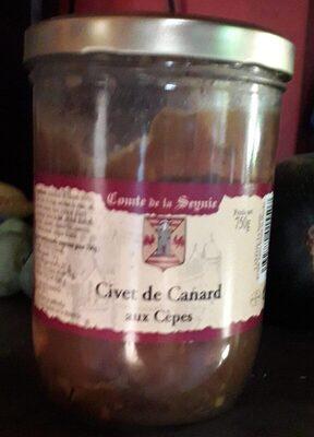 Lot 2 Civets De Canard Aux Cèpes 750G - Comte De La Seynie - Nutrition facts - fr