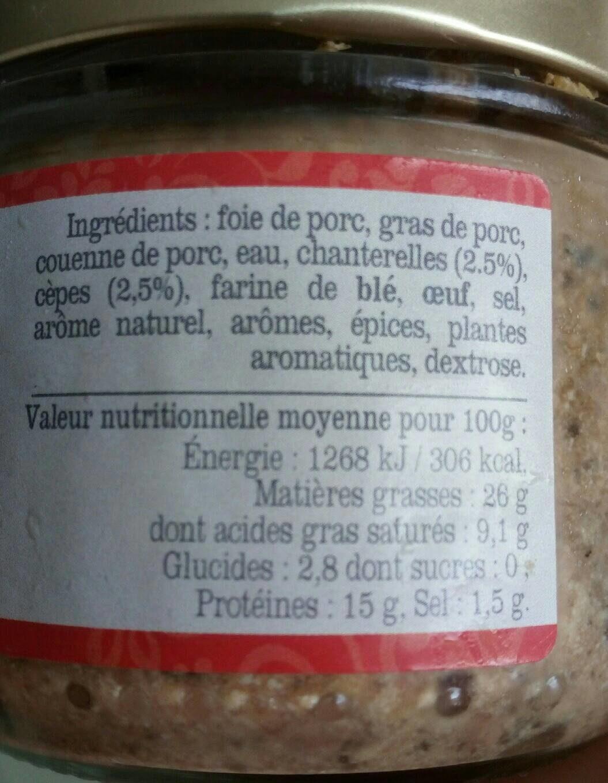 Terrine forestière aux cèpes et chanterelles - Nutrition facts - fr