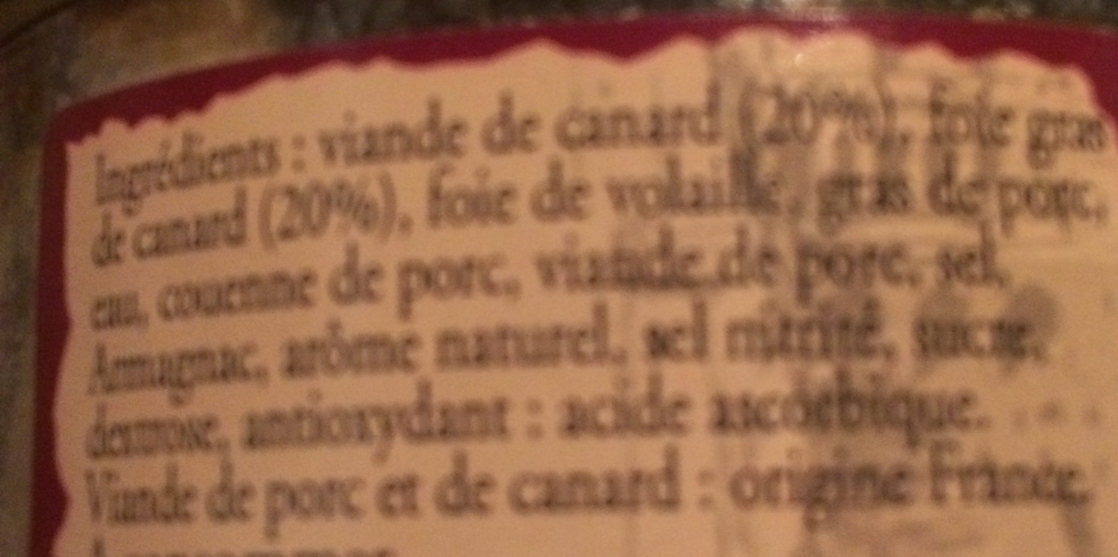 Terrine de Canard au Foie Gras - Ingredients - fr