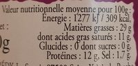 Terrine de Chevreuil au Foie Gras - Nutrition facts - fr