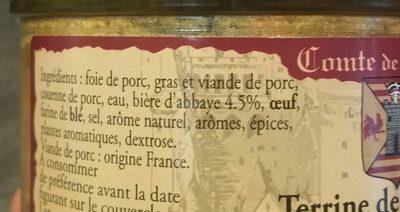 Terrine de campagne à la bière d'abbaye - Ingredients - fr