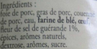 Terrine Gourmande à la fleur de sel de Guérande - Ingrédients