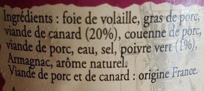 Terrine De Canard Au Poivre Vert - Ingredients - fr