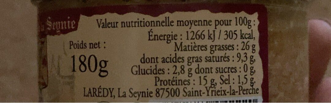 Terrine vigneronne au riesling - Nutrition facts - fr