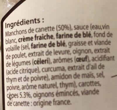 Canette sauce crémeuse aux cèpes - Ingrédients