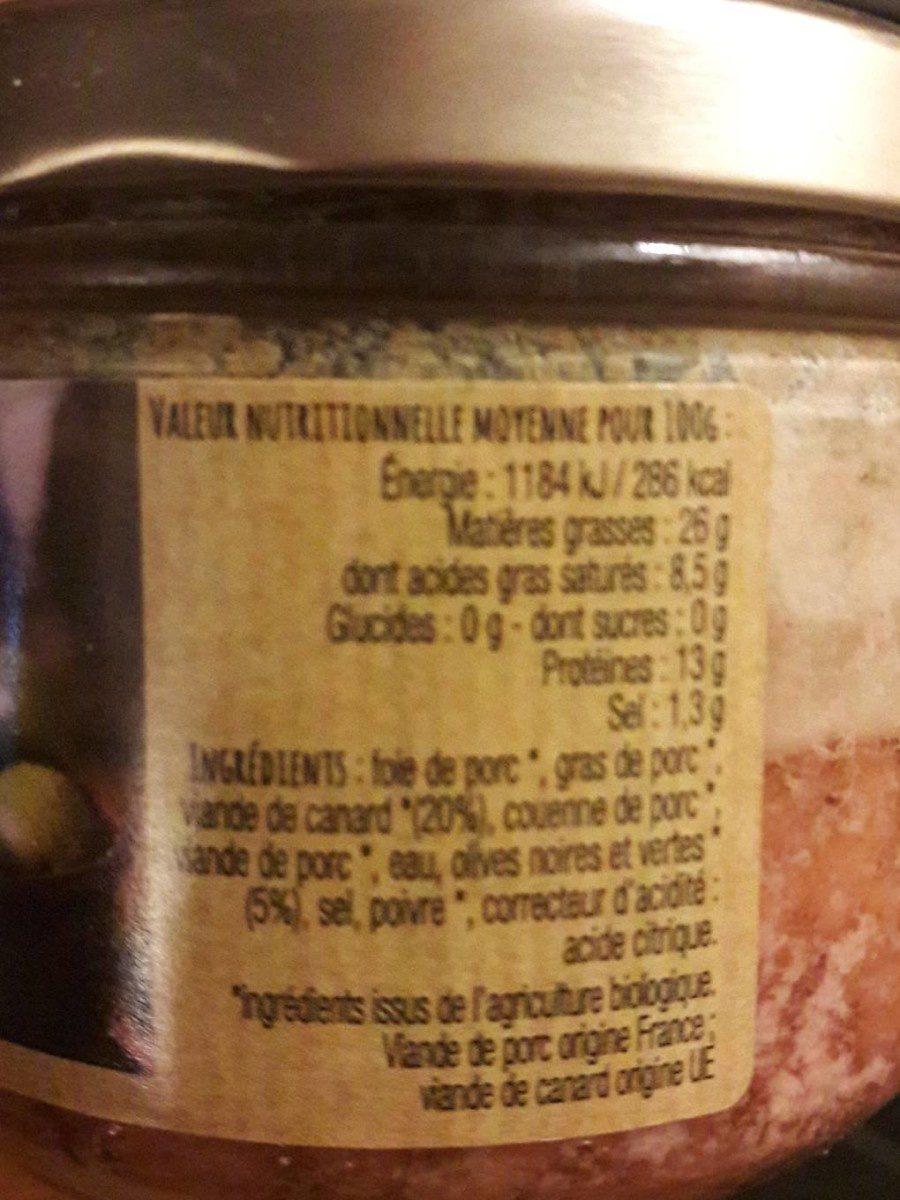 terrine de canard aux 2 olives - Ingrédients - fr
