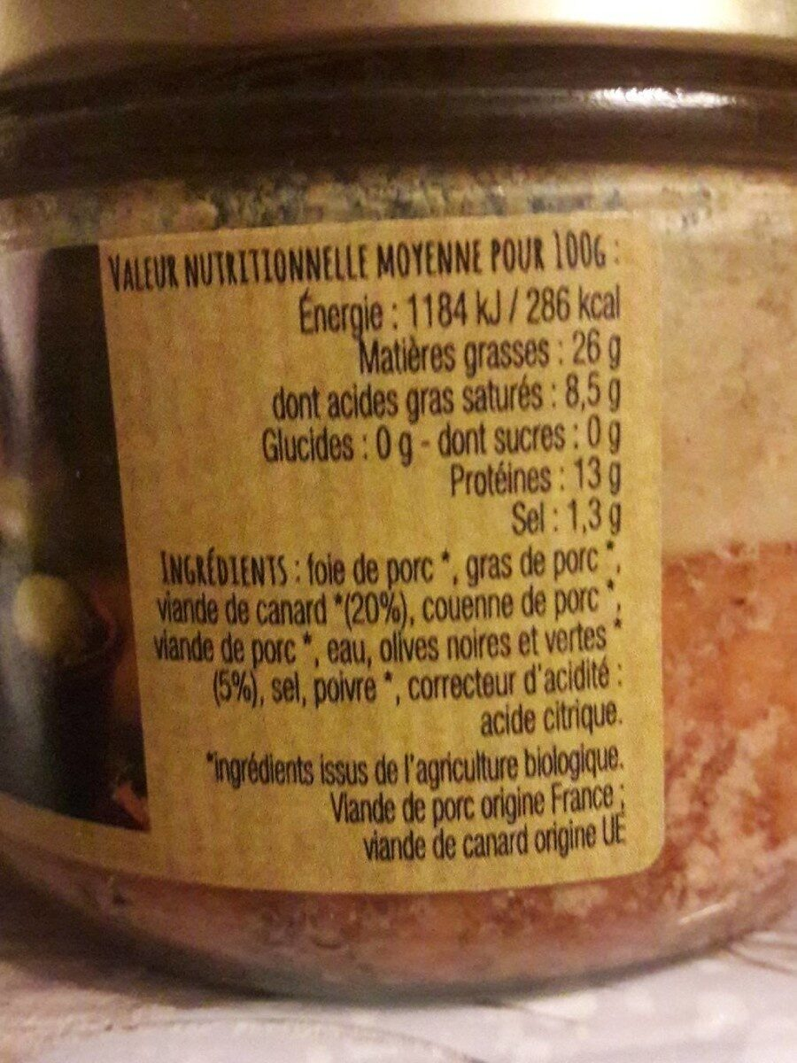 terrine de canard aux 2 olives - Informations nutritionnelles - fr